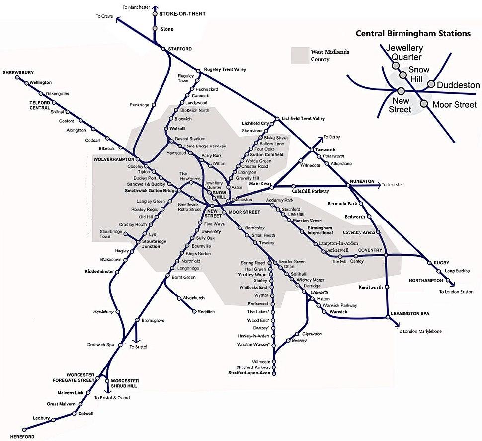 Birmingham & West Mids Passenger Railway Map
