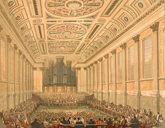 Birmingham Town Hall - The interior of the hall pictured in 1845.