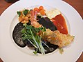 Black curry hamburg and fried shrimp (5447711489).jpg