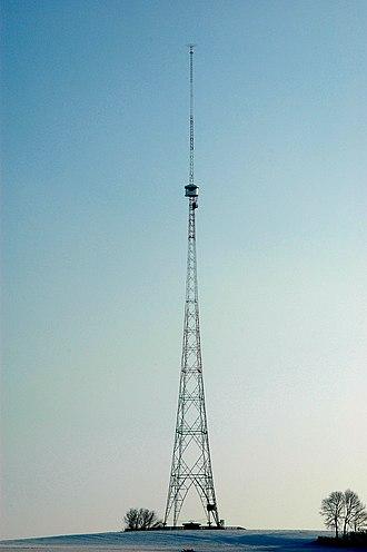 Mast radiator - The Blosenbergturm in Beromünster, Switzerland - a radiating tower insulated against ground
