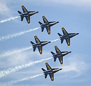 Blue Angels Flying in Delta Formation at Miramar