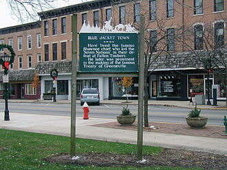 Logan County, Ohio - Historical marker in downtown Bellefontaine marking the site of Blue Jacket's Town