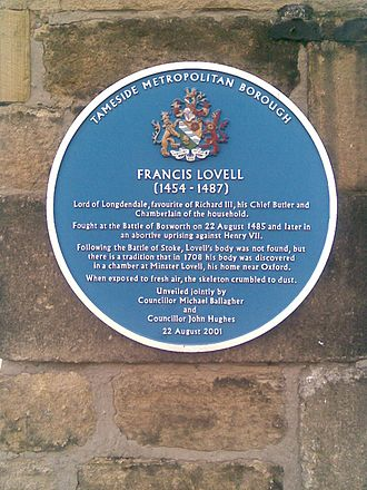Francis Lovell, 1st Viscount Lovell - Image: Blue Plaque of Francis Lovell