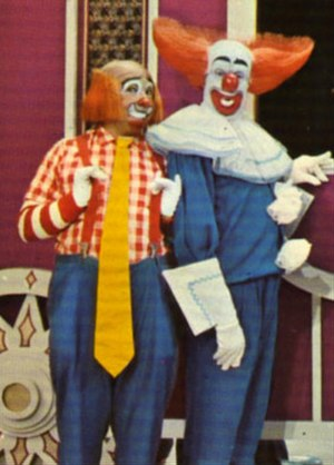 Bozo the Clown - Cooky (Roy Brown) and Bozo (Bob Bell) on WGN-TV Chicago's Bozo's Circus in 1976.