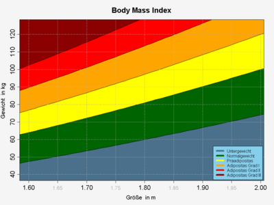 Gewichtsklassen in Abhängigkeit von Körpergewicht und Körpergröße (nach nebenstehenden BMI-Angaben) ohne Berücksichtigung der Faktoren Alter und Geschlecht
