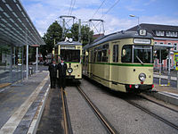 Two vintage trams on hand for the reopening of the Essenerstraße stop in Horst
