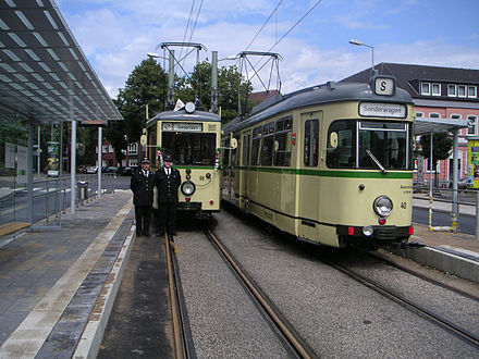 Two vintage trams on hand for the reopening of the Essener Straße stop in Horst Bogestra hist.jpg