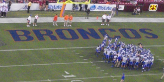 2010 Boise State Broncos football team - Boise State players during pregame.