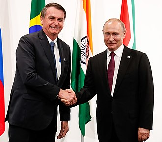 Putin with the President of Brazil, Jair Bolsonaro, at the 2019 G20 summit in Osaka, Japan Bolsonaro and Russian President Vladimir Putin (cropped).jpg
