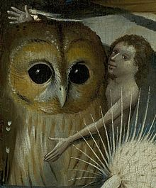 image from a painting by Bosch of someone embracing a very large owl and seemingly inviting the viewer to do so as well