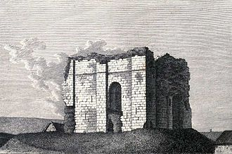 Bowes Castle - Ruins of Bowes Castle depicted in 1785. The first-floor entrance arch is visible at centre; the steps leading to it have gone.
