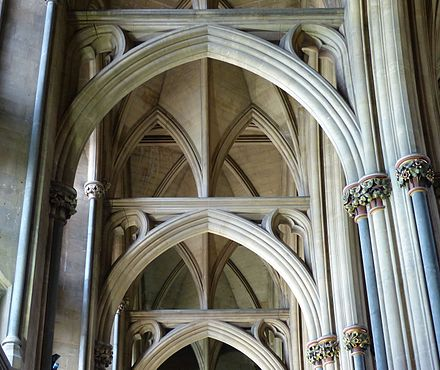 Vaulting of the nave aisle Bristol Cathedral vault of S aisle of nave.jpg