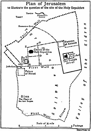 The Garden Tomb - A map of Jerusalem in the late second temple period from 1911 illustrating the question of the Holy Sepulchre. The tomb just to the left of Jeremiah's Grotto is the Garden Tomb. Contemporary scholars would no longer accept this reconstruction of the city walls.