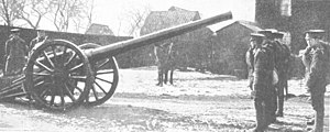 West Riding Heavy Battery, Royal Garrison Artillery - 4.7-inch gun on 'Woolwich' carriage, ca 1914.