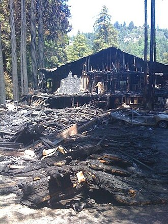 Brookdale, California - Damaged section of the lodge after the 2009 fire