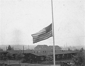 Half-mast - The American flag flying at half-mast in Buchenwald, Thuringia, Germany, on 19 April 1945.