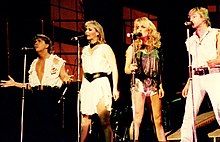 Bucks Fizz live on stage.1984