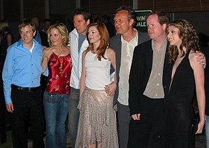 Joss Whedon - (From left to right) Tom Lenk, Emma Caulfield, Alexis Denisof, Alyson Hannigan, Anthony Head, Whedon and Michelle Trachtenberg at the Buffy wrap party.