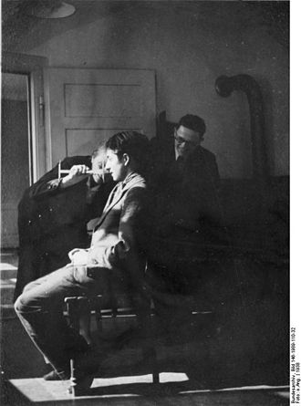 Kriminalpolizei (Nazi Germany) - Kripo researchers measure a Sinti boy's head in anthropological studies of criminals, Stuttgart in 1938