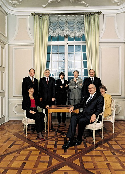 In 2003, by granting the Swiss People's Party a second seat in the governing cabinet, the Parliament altered the coalition which had dominated Swiss politics since 1959. Bundesrat der Schweiz 2003.jpg