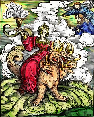 Whore of Babylon - A 1523 woodcut by Hans Burgkmair, for Martin Luther's translation of the New Testament, depicting the Whore of Babylon riding the seven-headed Beast (a hand colored copy)