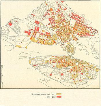 Lindhagenplanernes realisering 1886 (venstre) og byggeaktivitetens udvikling 1875-1896.