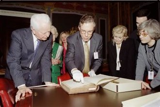 Robert Byrd - Byrd and Dr. Richard Baker, the Senate historian