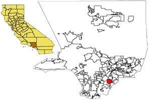 Location of Norwalk, CA in Los Angeles County....