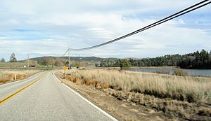 Cuyamaca, California - CA 79 looking north with Lake Cuyamaca on the right