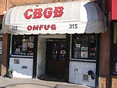 Facade of legendary music club CBGB, New York