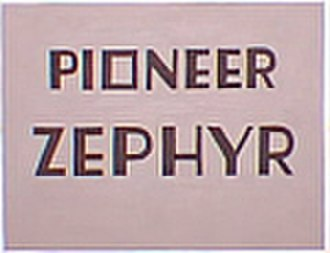 "Pioneer Zephyr - This ""drumhead"" logo originally adorned the end of the observation car on the Pioneer Zephyr."