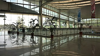 Chaudhary Charan Singh International Airport - Visitor's lobby overlooking Departure Hall, inside view of the new terminal building