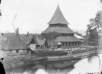 Surau - Bingkudu Mosque, an archetypal Minangkabau mosque with its multi-tiers, curving form and exaggerated roof height.