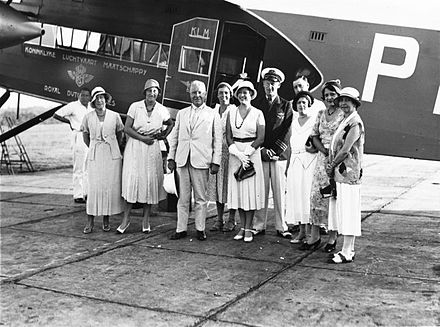 KLM Fokker F-XVIII departing from the Dutch East Indies, 1932 COLLECTIE TROPENMUSEUM Groepsportret voorafgaand aan het vertrek van directeur Rendorp van de KNILM per Fokker F-XII van de KLM naar Nederland TMnr 60027465.jpg