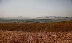 The now closed Georgian ISAF Combat Outpost Shukvani in Helmand province, Afghanistan, which sits on a plateau overlooking the city of Sangin.