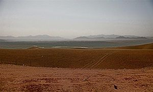 Sangin District - The now closed Georgian ISAF Combat Outpost Shukvani in Helmand province, Afghanistan, which sits on a plateau overlooking the city of Sangin.