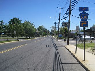 County Route 530 (New Jersey) - CR 530 eastbound approaching CR 667 and CR 669 in Browns Mills; CR 530 east makes a right turn at this intersection