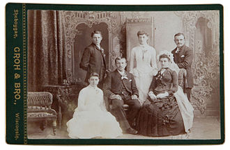 Cabinet card - A photograph of a wedding party probably from the late 1870s to 1880s. (Note the black or dark-colored wedding dress, which was common during the early to mid-19th century.)