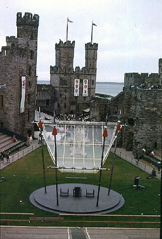 Investiture of the Prince of Wales - Caernarfon Castle set up for the investiture of Prince Charles, 30 June 1969