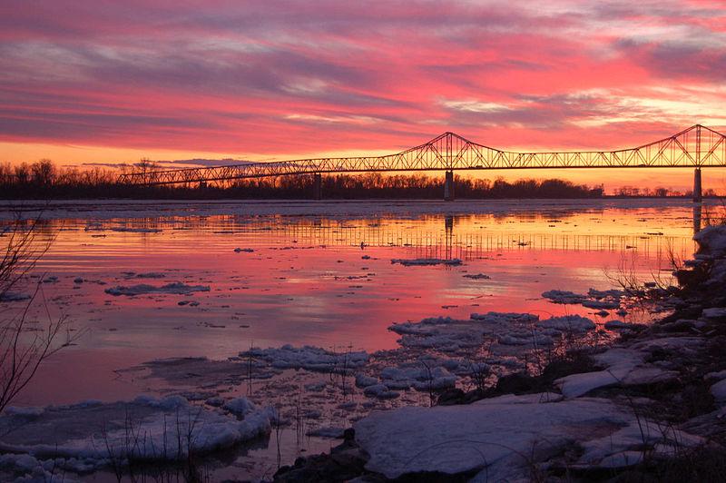 File:Cairo Ohio River Bridge at sunset.jpg
