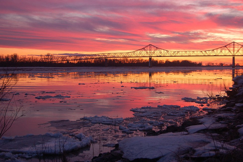 Cairo Ohio River Bridge at sunset