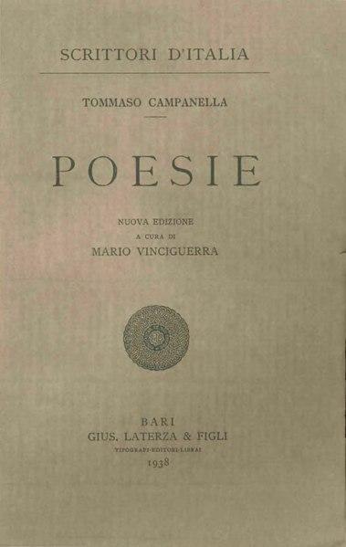 File:Campanella, Tommaso – Poesie, 1938 – BEIC 1778417.djvu