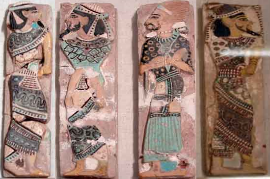 Canaanites and Shasu Leader captives from Ramses III's tile collection; By Niv Lugassi