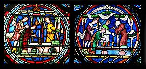 Round sections of two stained-glass windows both show a scene of a person kneeling at an altar while onlookers talk. The number of onlookers, small details and colour schemes are different.