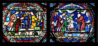 Poor Man's Bible - Details of two windows from Canterbury Cathedral illustrating different stories but repeating the two left-hand figures, the columns, table, candlestick and book. Left – Medieval; right – Victorian