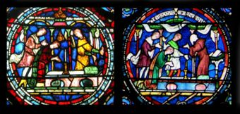 Round sections of two stained glass windows both show a scene of a person kneeling at an altar while onlookers talk. The number of onlookers, small details and colour schemes are different.