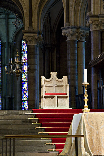The Chair of St Augustine (the episcopal throne in Canterbury Cathedral, Kent), seat of the Archbishop of Canterbury in his role as head of the Anglican Communion Canterburycathedralthrone.jpg
