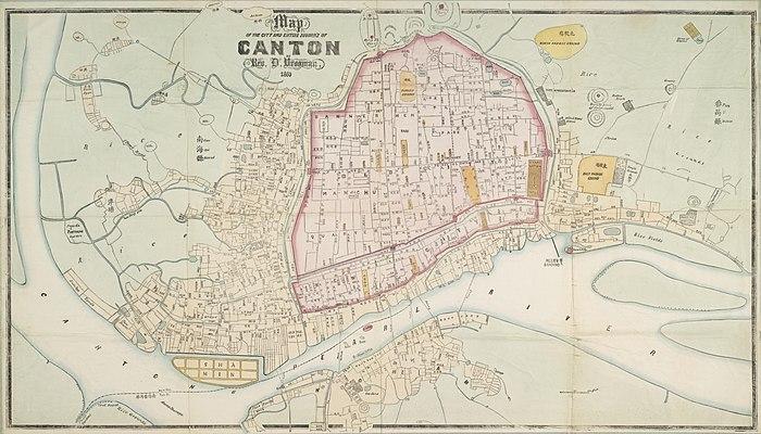 1860年广州中英文地图