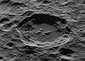 Cantor (crater) - Oblique Lunar Orbiter 5 image, facing west