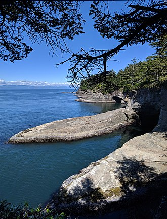 Cape Flattery - The view to the north from Cape Flattery, with Vancouver Island in the distance